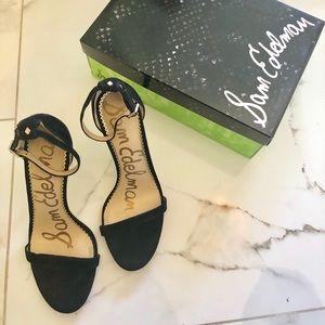 Elegant black suede stiletto strap heels